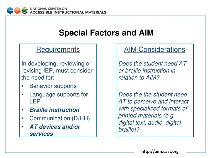 Special Factors and AIM