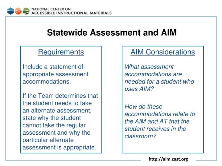 Statewide Assessment and AIM
