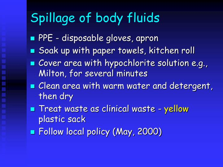 Spillage of body fluids