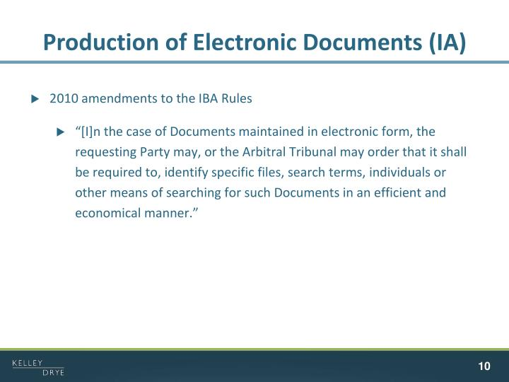 Production of Electronic Documents (IA)