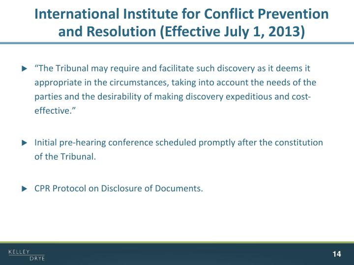 International Institute for Conflict Prevention and