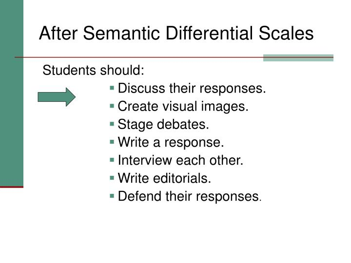 After Semantic Differential Scales