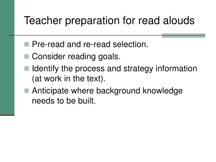 Teacher preparation for read alouds