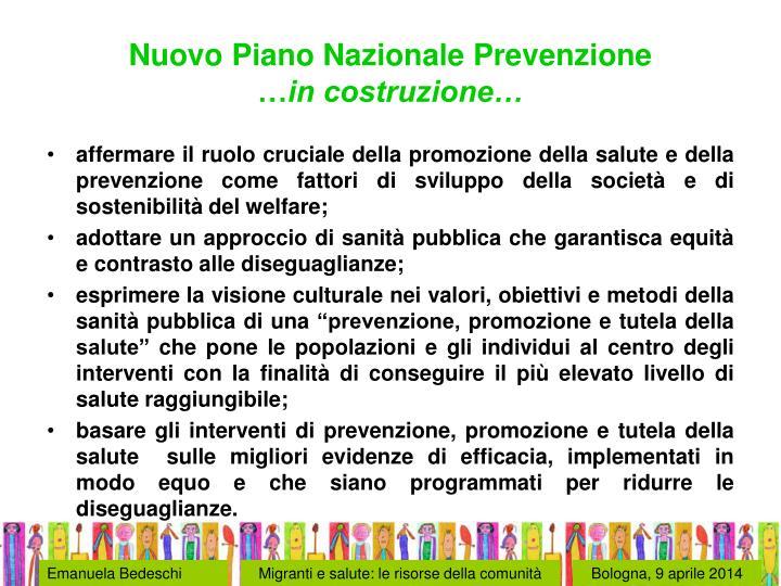 Nuovo Piano Nazionale Prevenzione