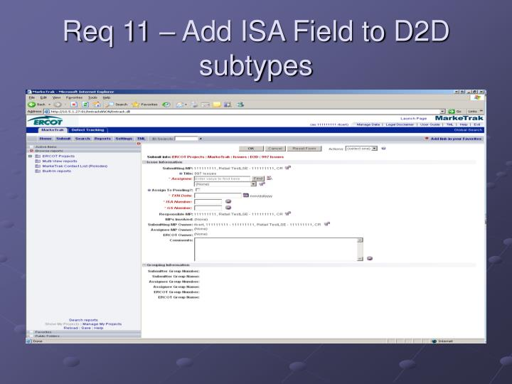 Req 11 – Add ISA Field to D2D subtypes