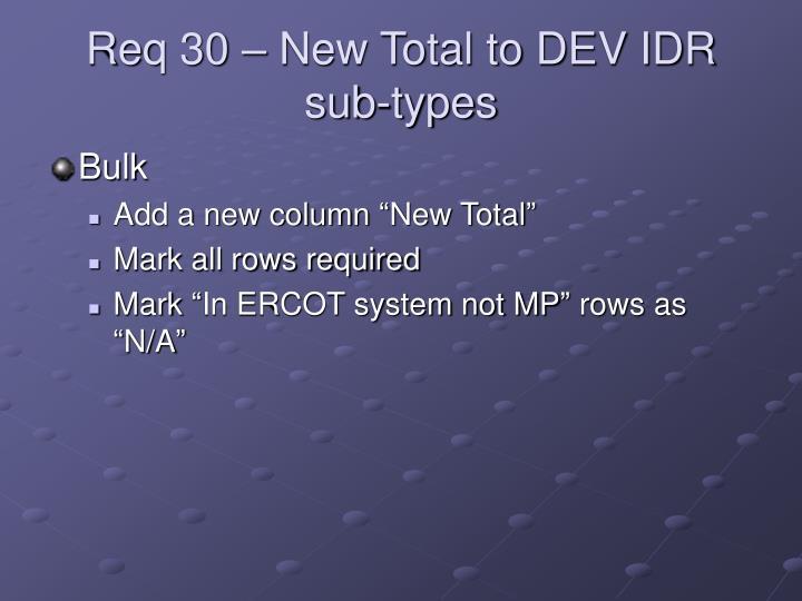 Req 30 – New Total to DEV IDR sub-types