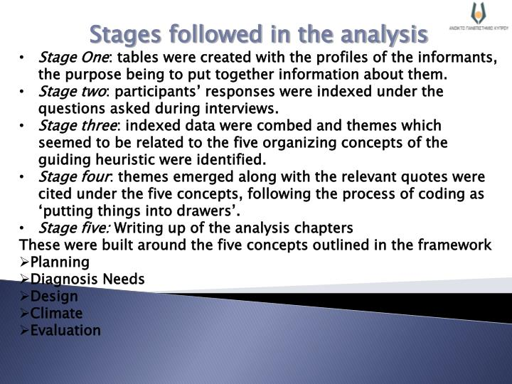 Stages followed in the analysis