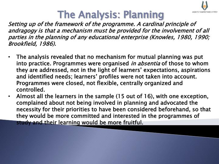 The Analysis: Planning