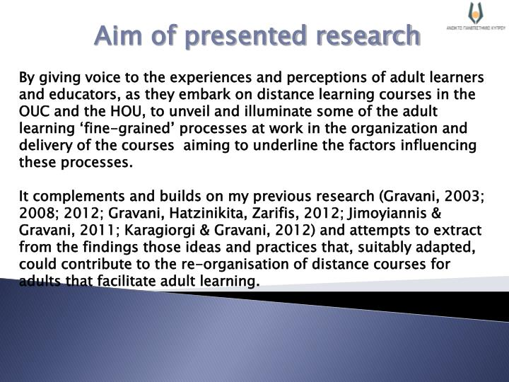 Aim of presented research