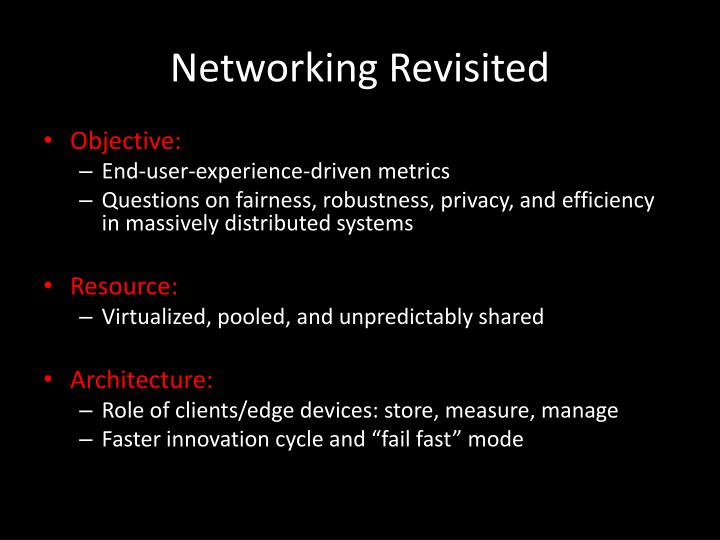 Networking Revisited