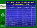ada fire department resources from previous plan