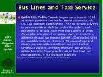 bus lines and taxi service