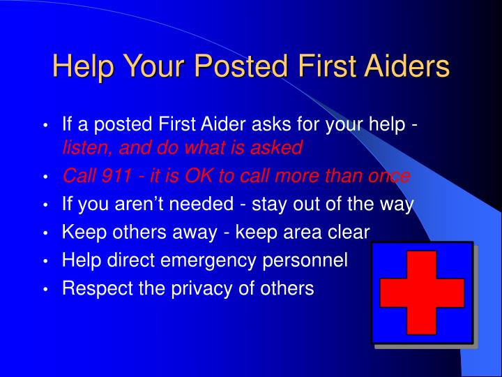 Help Your Posted First Aiders