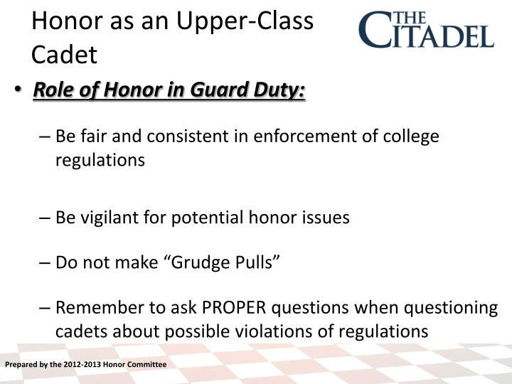 Role of Honor in Guard Duty: