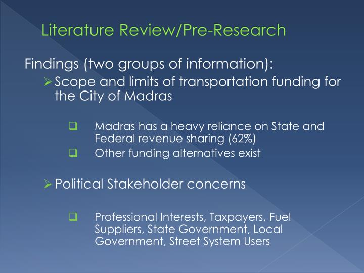 Literature review pre research