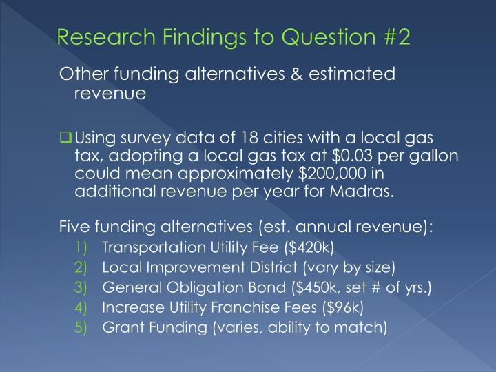 Research Findings to Question #2
