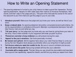 how to write an opening statement