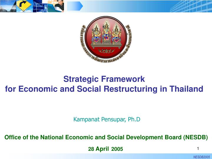 strategic framework for economic and social restructuring in thailand n.