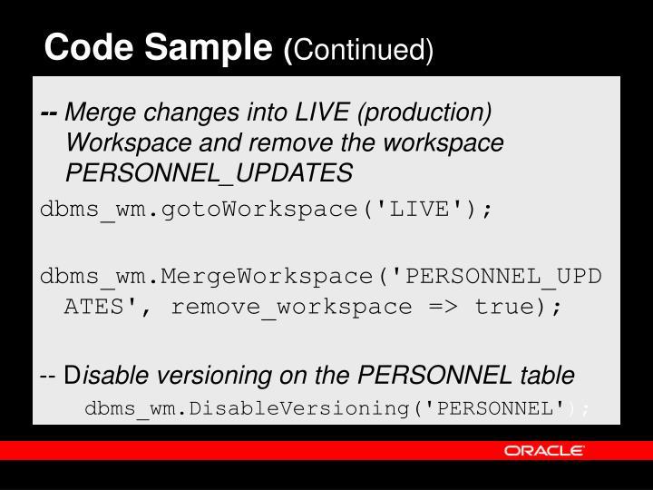 Code Sample