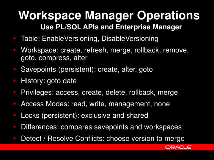 Workspace Manager Operations
