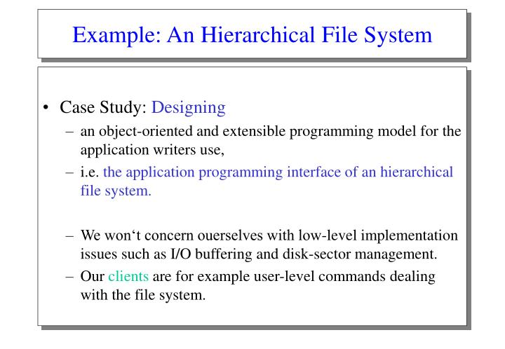 Example an hierarchical file system