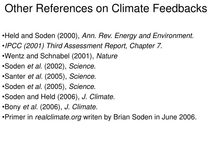 Other references on climate feedbacks