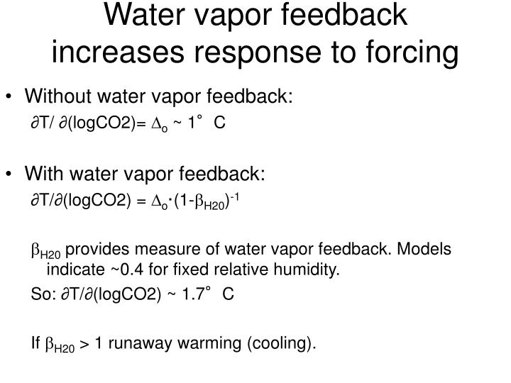 Water vapor feedback increases response to forcing