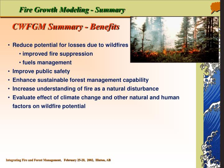 Fire Growth Modeling - Summary