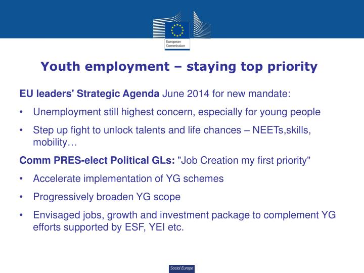 Youth employment – staying top priority