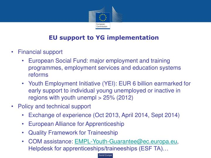 EU support to YG implementation
