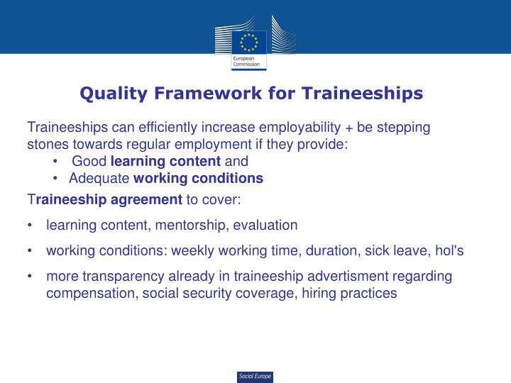 Quality Framework for Traineeships