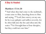a boy is healed