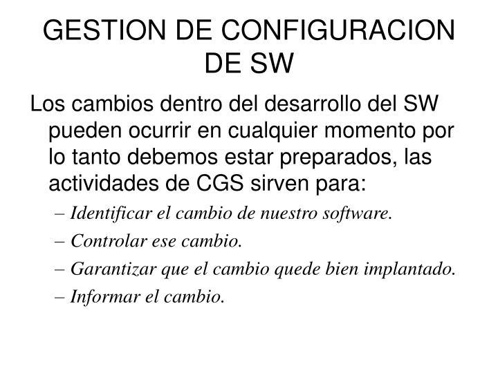 Gestion de configuracion de sw