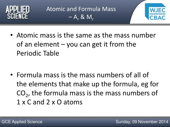 Atomic and formula mass a r m r