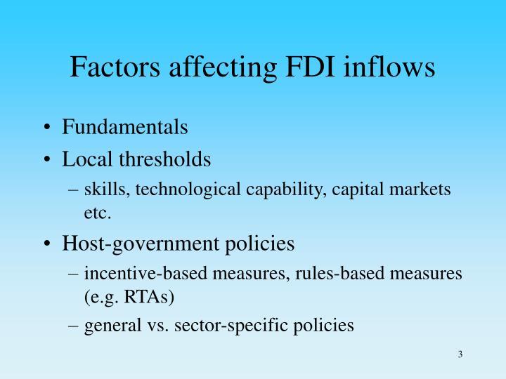 Factors affecting fdi inflows