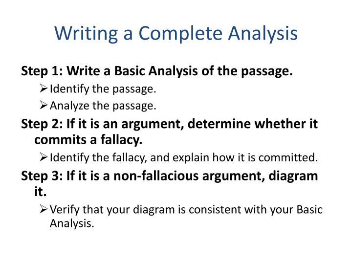 Writing a Complete Analysis