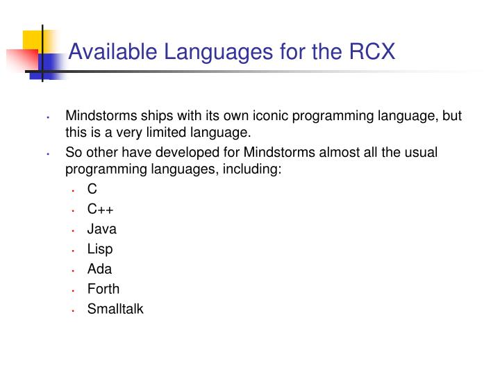 Available languages for the rcx