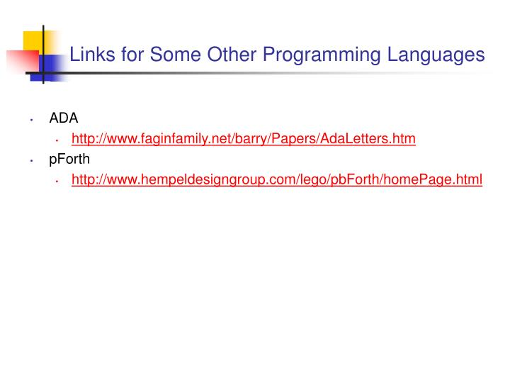 Links for Some Other Programming Languages