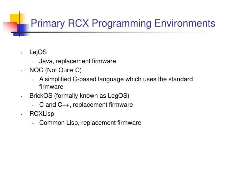 Primary rcx programming environments