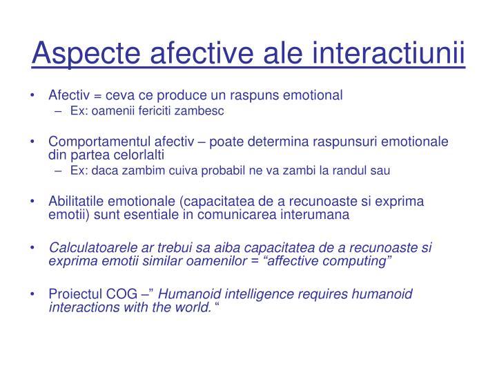 Aspecte afective ale interactiunii