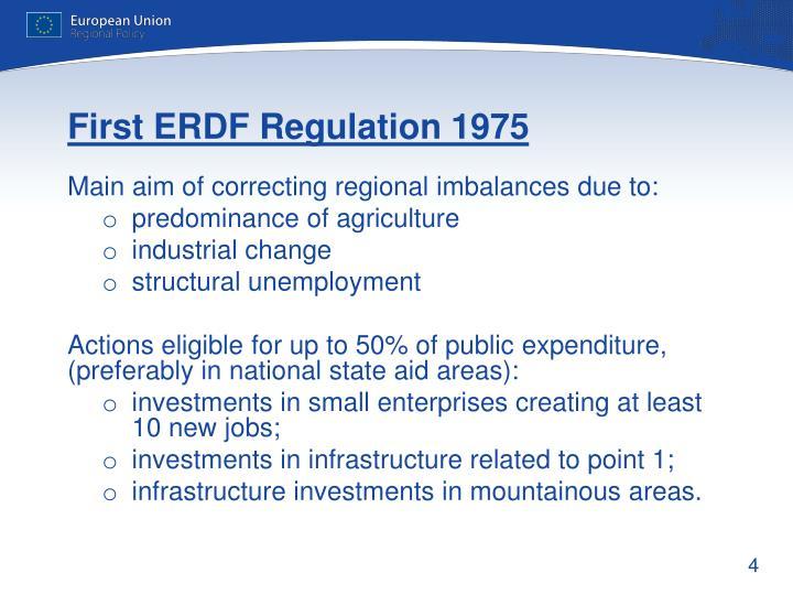 First ERDF Regulation 1975