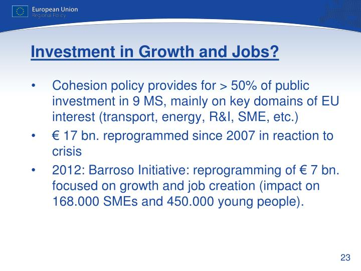 Investment in Growth and Jobs?