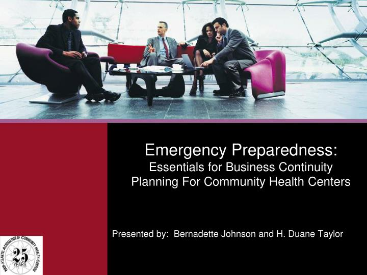 emergency preparedness essentials for business continuity planning for community health centers n.