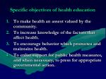 specific objectives of health education