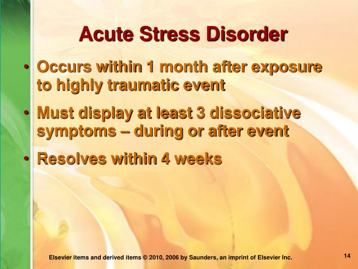 Acute Stress Disorder