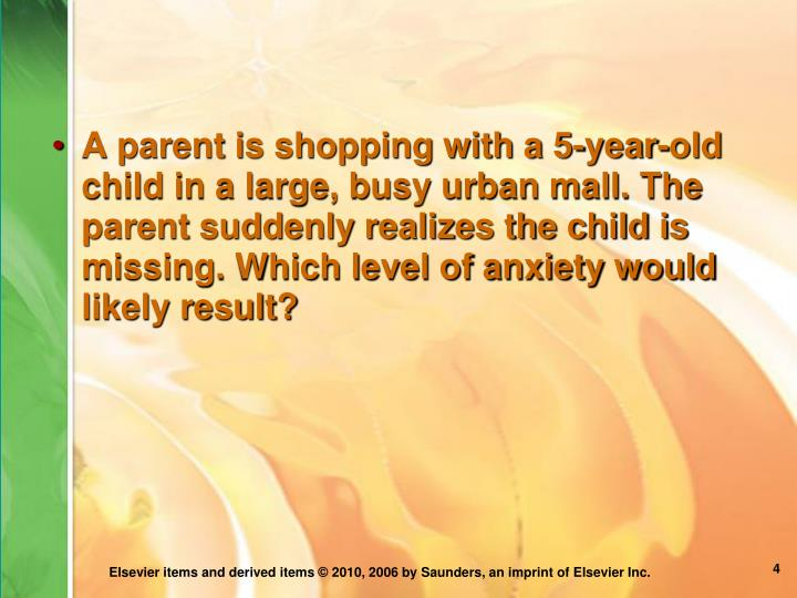 A parent is shopping with a 5-year-old child in a large, busy urban mall. The parent suddenly realizes the child is missing. Which level of anxiety would likely result?