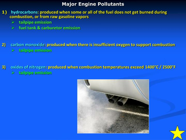 Major engine pollutants