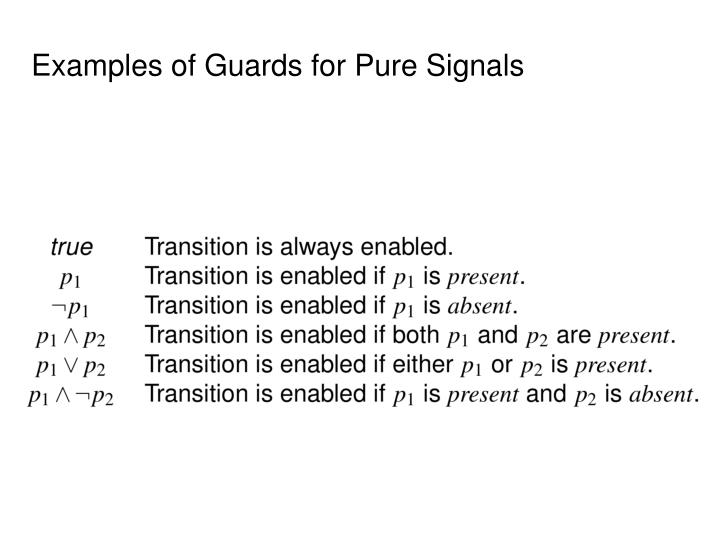 Examples of Guards for Pure Signals