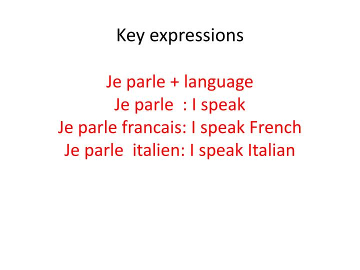 Key expressions