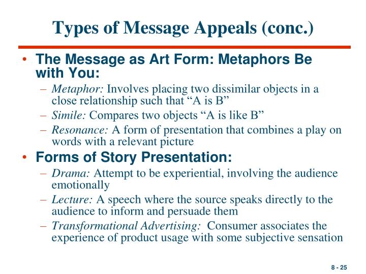 three types of appeals used in maketing communications messages Different types of appeals used in advertising an advertising appeal is the theme used to attract the attention of audience towards a product , service or cause it is the underlying content which connects with need or consumer and excites their interest in product and ad.